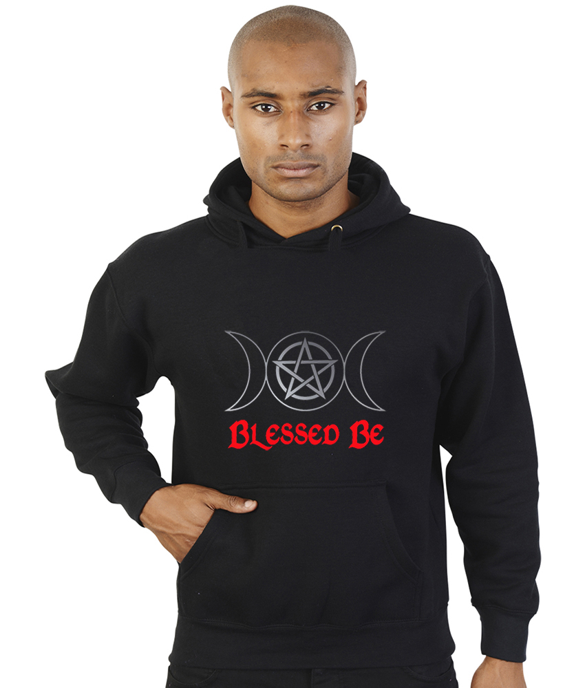 blessed be with triple moon pagan hoodie