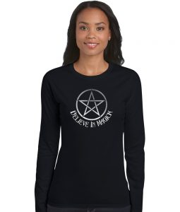 believe in magick with pentacle ladies pagan shirt