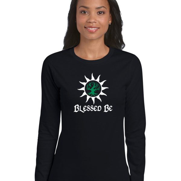 blessed be with sun and tree ladies pagan shirt