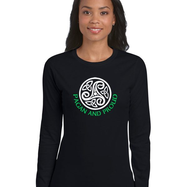 pagan and proud with celtic pattern ladies pagan shirt