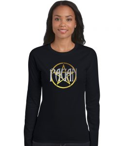 pagan pentacle in silver and gold ladies shirt