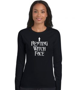 resting witch face ladies pagan shirt