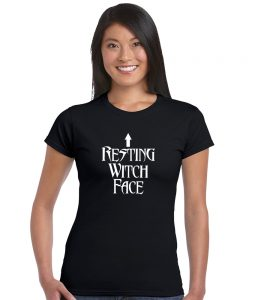 resting witch face ladies pagan top