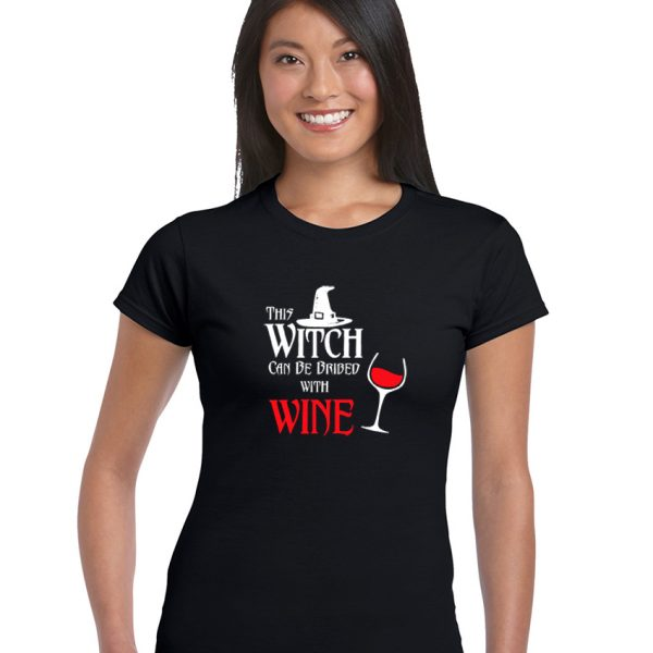 this witch can be bribed with wine ladies pagan top