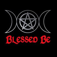 blessed be with triple moon pagan design