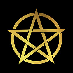 large gold pentacle