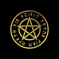 pentacle with runes in gold